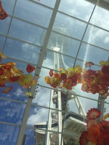 Dale Chihuly's glass objet seem to float in the shadow of the Seattle Space Needle on a recent Friends Art and Architecture trip.