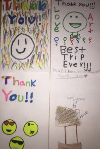 A recent thank-you card from a fourth-grade class whose school experience was enriched by the Buy a Bus program.