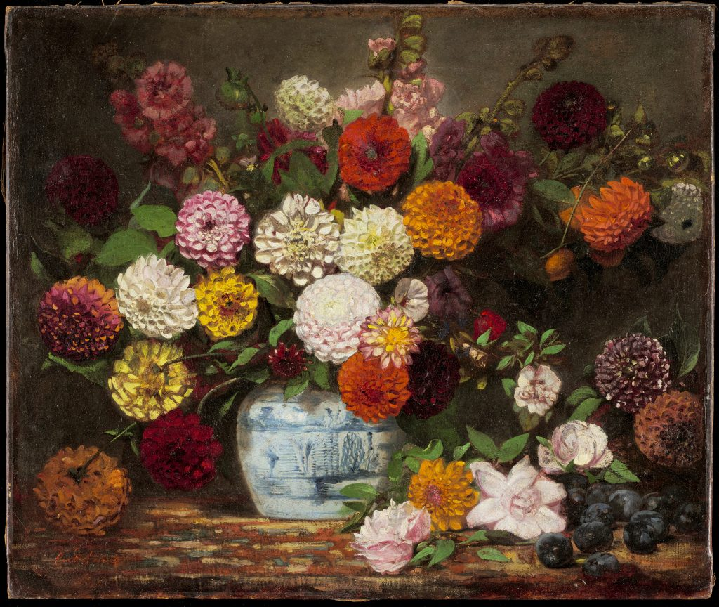 Eugène Delacroix, French, 1798–1863, Still Life with Dahlias, Zinnias, Hollyhocks and Plums (detail), c. 1835, oil on canvas, Gift of funds from the Friends of the Institute in celebration of their 100th anniversary, with generous support from Nivin MacMillan, Mary Agnes and Al McQuinn, Sheila C. Morgan, and Mary and Douglas Olson.