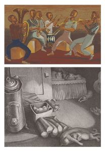"Top: Elizabeth Olds American, 1896–1991 ""Harlem Musicians,"" 1937-40 Color screenprint Published by Works Progress Administration, New York Gift of Mrs. C.C. Bovey P.11,770 Bottom: Wanda Gág American, 1893–1946 ""Siesta,"" 1937 Lithograph on zinc plate The William Hood Dunwoody Fund P.12,182"